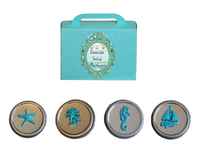 Luxury Seaside Solid Perfume Gift Set of 4-Comes with a free Necklace Charm