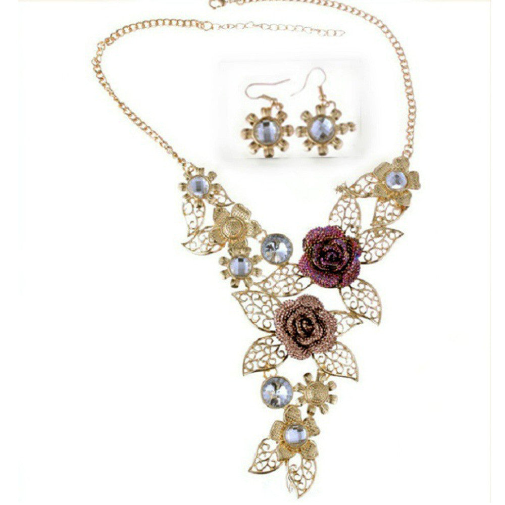 Women\'s Elegant Vintage Flower Gold Necklace Earrings Set – sellmie