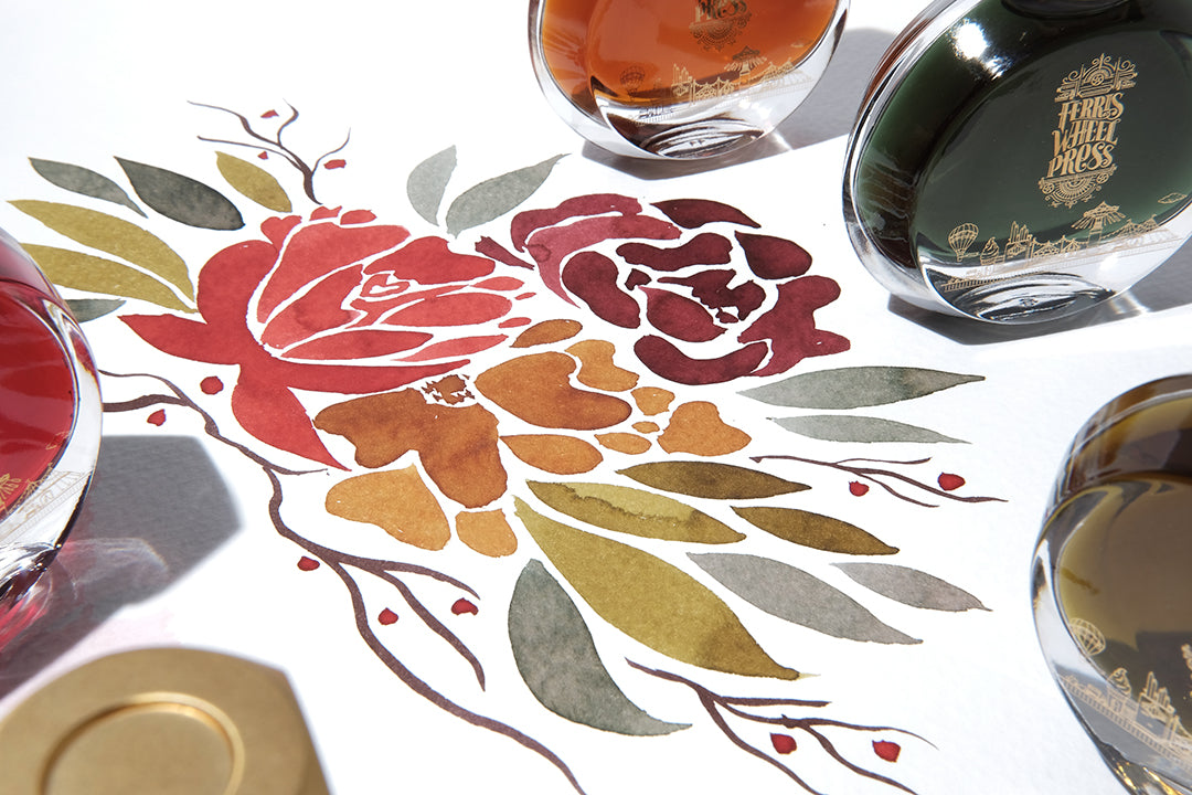 An ink painting of flowers in muted shades of red, green, orange, yellow and brown. Ink bottles with the Ferris Wheel Press logo surround it.