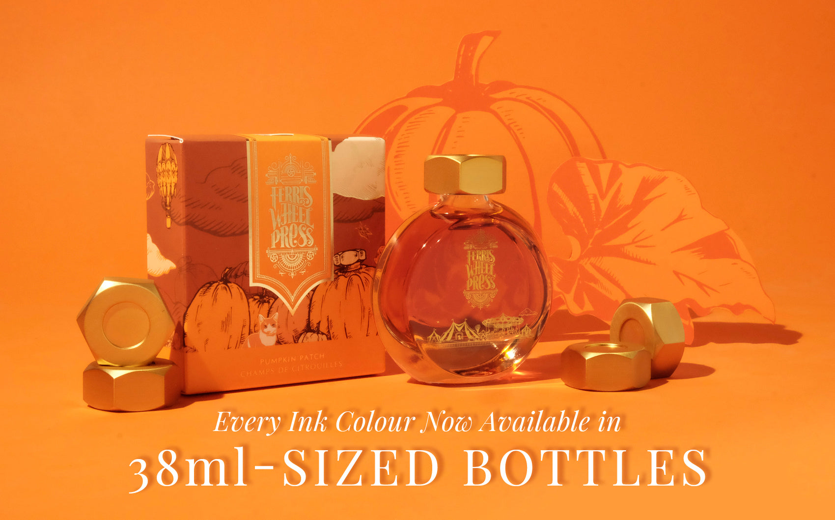 A 38mL of orange ink with the Ferris Wheel Press logo in gold surrounded by paper cut outs of hand-drawn pumpkins.