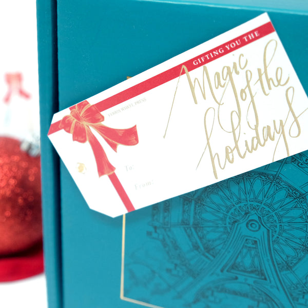 Ferris Wheel Press Gift Tag sample on mailer box