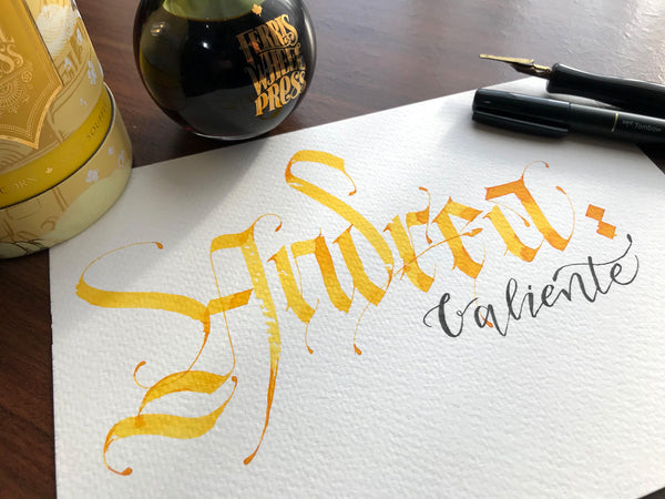 Ferris Wheel Press Fan Art by Cristian Canelos - Yellow ink calligraphy