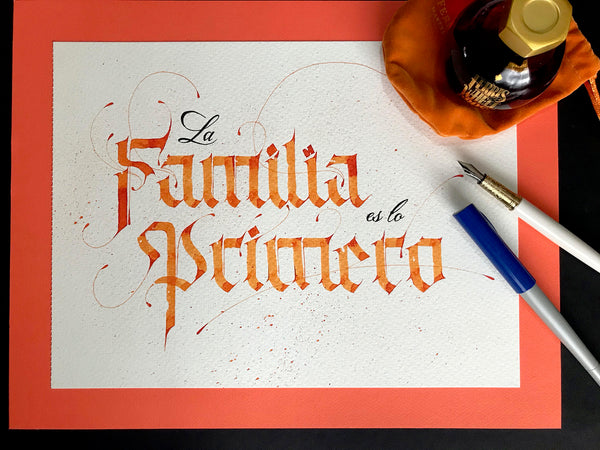 Ferris Wheel Press Fan Art by Cristian Canelos: Orange ink calligraphy
