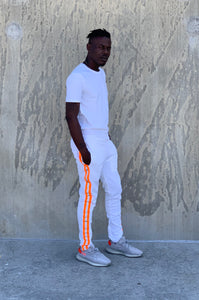 Orange Stripe Track Pants