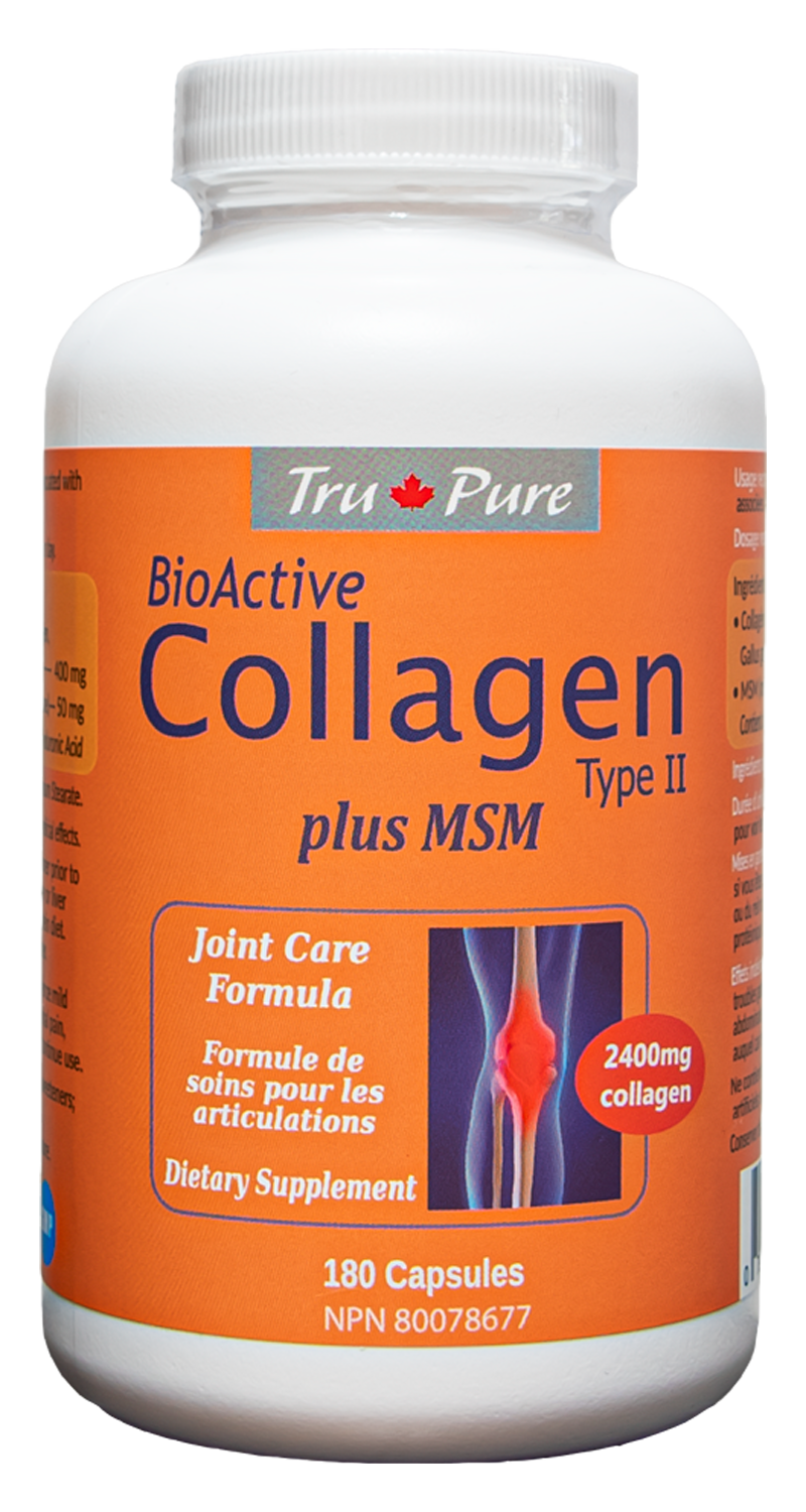 BioActive Collagen Type II plus MSM - Joint Care Formula.  180 Capsules.