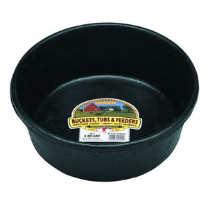 4-Qt Black Rubber Feed Tub