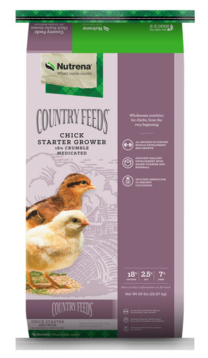 Country Feeds Chick Starter Grower 18% Crumbles Medicated