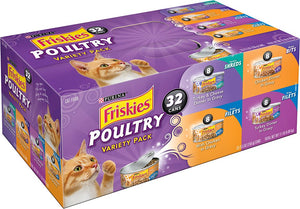 Friskies Poultry Canned Cat Food Variety Pack (32 cans)