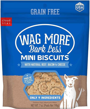 Wag More Bark Less Beef, Bacon, and Cheese Mini Oven Baked Grain Free Dog Treats