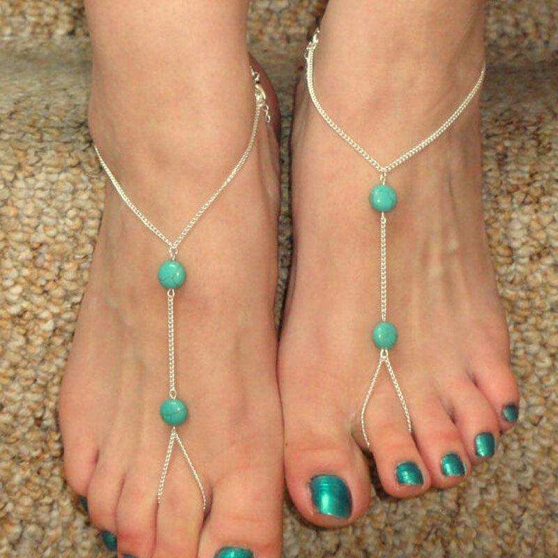 Turquoise Beads Barefoot Sandal Beach Foot Anklet Chain(Free Shipping)