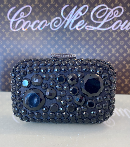 BLACK RHINESTONE CLUTCH/SHOULDER
