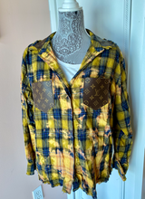 LV Repurposed Bleach Flannel (BLUE/YELLOW)