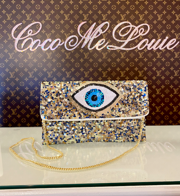 LARGE EVIL EYE SEQUIN CLUTCH / CROSSBODY