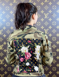 CAMO PINK FLORAL DENIM JACKET