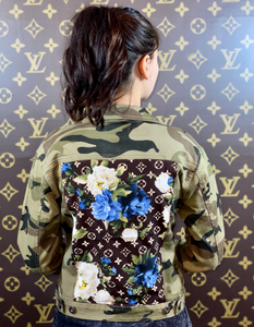 CAMO BLUE FLORAL DENIM JACKET LARGE