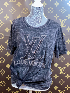 RHINESTONE LV T SHIRT BLACK ACID