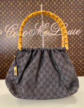 GUCCI BAMBOO TOP HANDLE DENIM BAG