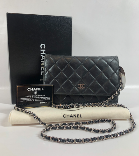 CHANEL WALLET ON CHAIN LAMB BLACK