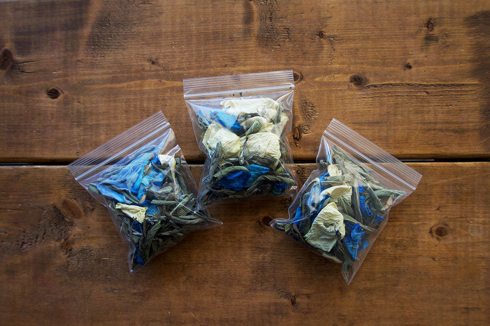Loose Leaf Sage with Blue and White Roses