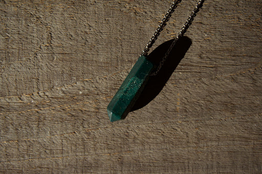 Green Jasper Pendant Point Necklace