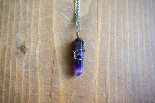 Small Amethyst Double Terminated Pendant Necklace