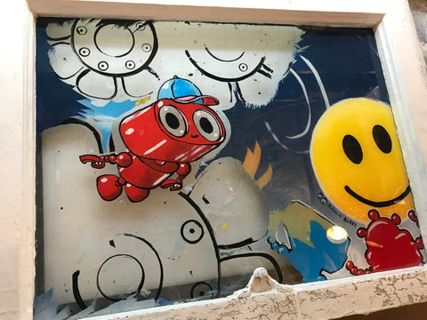 Johnny Botts wip, Robot Asher reverse-painted on reclaimed window