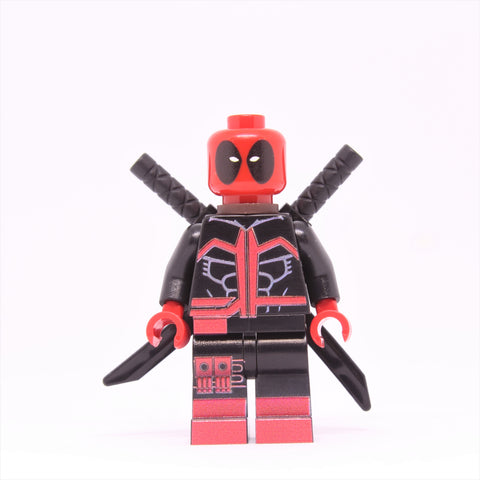 Red and Black Deadpool Minifigure-Free shipping