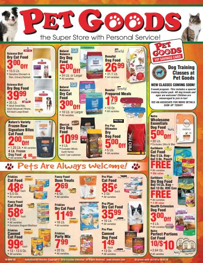 pet goods october circular
