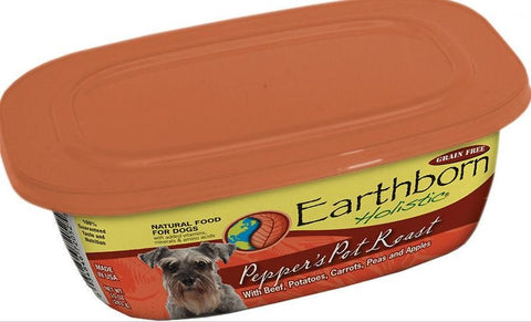 Earthborn Holistic Pepper's Pot Roast Gourmet Dinners Grain Free Moist Dog Food Tubs