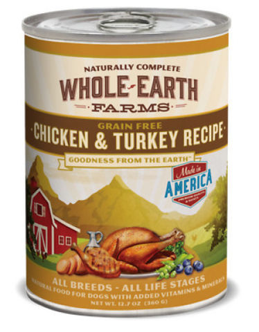 Whole Earth Farms Grain Free Chicken and Turkey Recipe Canned Dog Food