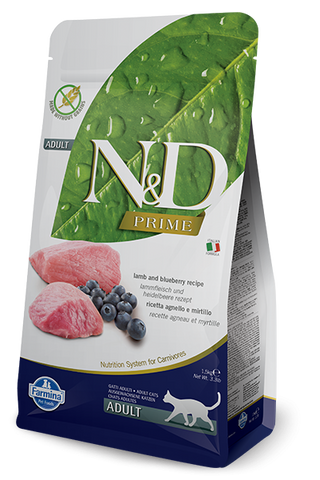 Farmina Prime N&D Natural & Delicious Grain Free Adult Lamb & Blueberry Dry Cat Food