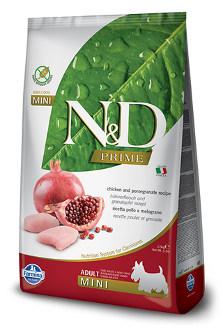 Farmina Prime N&D Natural & Delicious Grain Free Mini Adult Chicken & Pomegranate Dry Dog Food