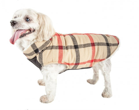 Pet Life Allegiance White & Red Plaid Insulated Dog Coat