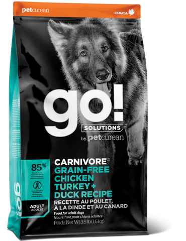 Petcurean GO! Solutions Carnivore Grain Free Chicken, Turkey, & Duck Recipe Dry Dog Food