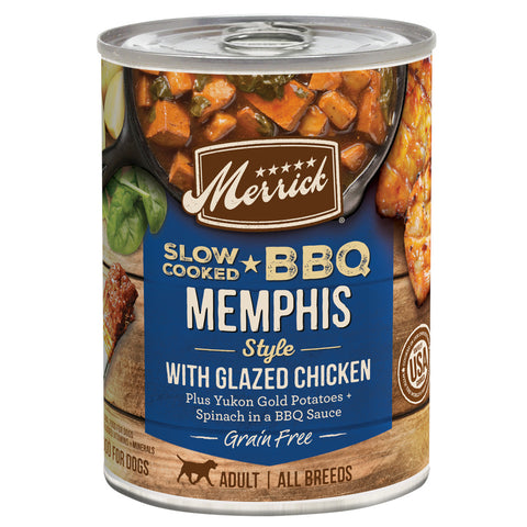 Merrick Grain Free Slow Cooked BBQ Memphis Style Chicken Recipe Canned Dog Food