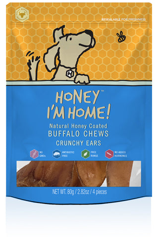 Honey I'm Home Natural Honey Coated Crunchy Ears Buffalo Dog Chews