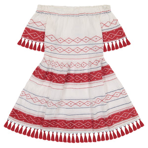 suri women's off-the-shoulder tassel mini dress white red embroidery