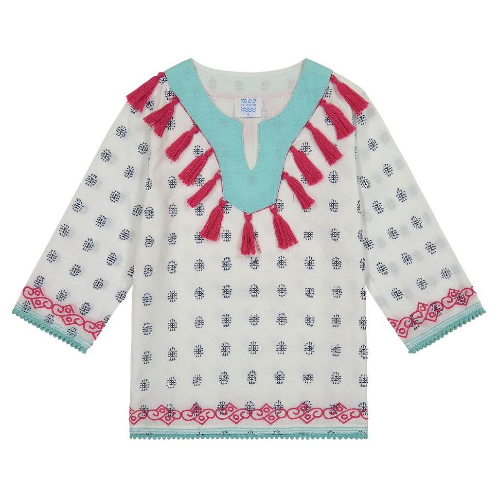 Campbell girls tassel tunic white with navy block embroidery