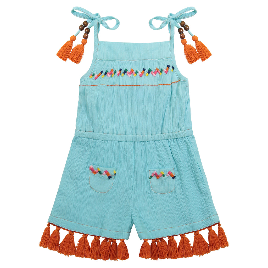 Inez girls romper aqua cotton crepe