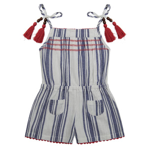 Inez girl's romper navy stripe cotton crepe