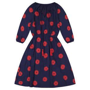 Solange Women's Pop Over Dress Navy Scarlet Embroidery