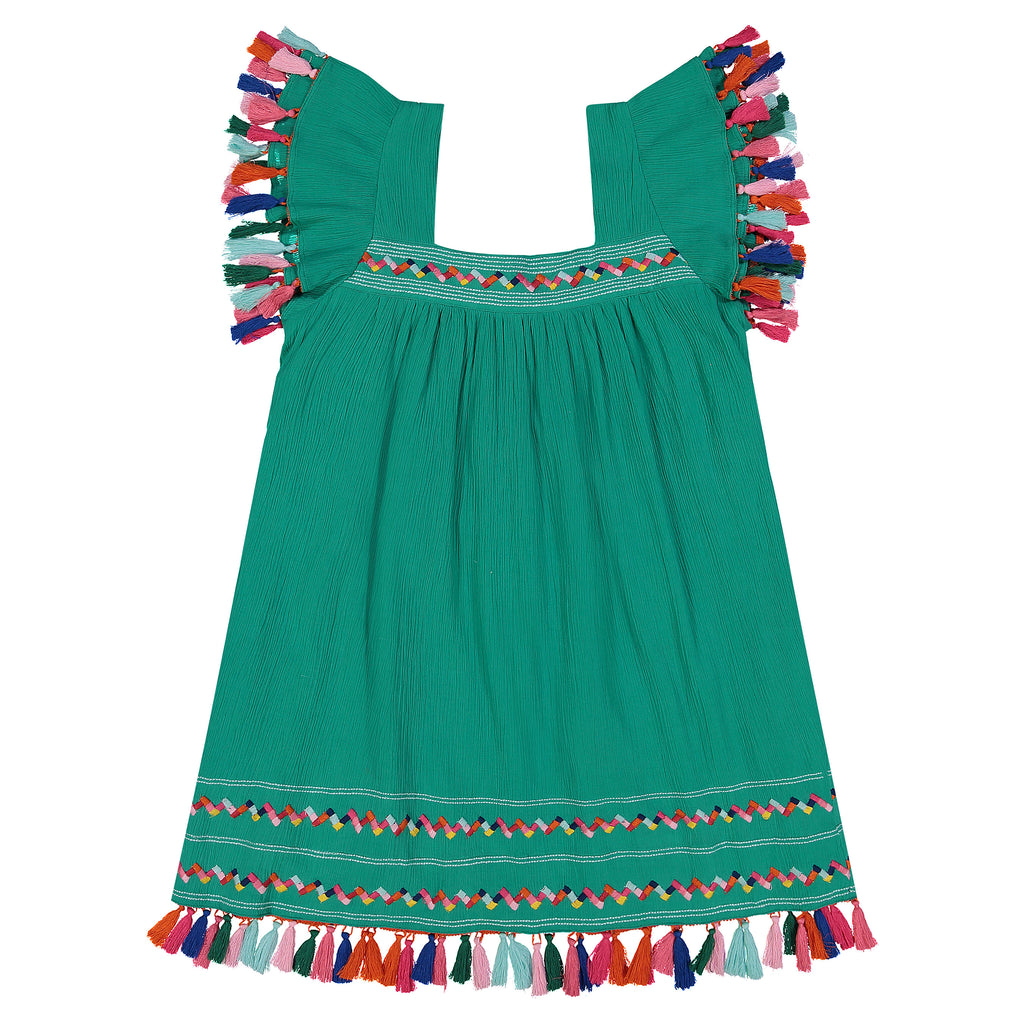 Mini Sandrine Women's Flutter Sleeve Tassel Dress Emerald Cotton Crepe