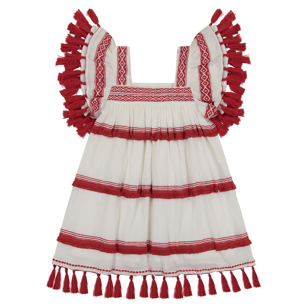 Serena girl's chacha dress white cotton crepe with red fringe