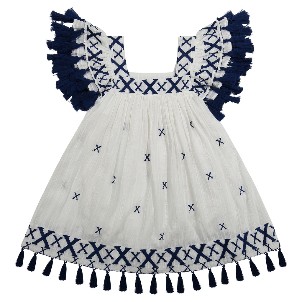 Serena girl's tassel dress navy Xs embroidery dress