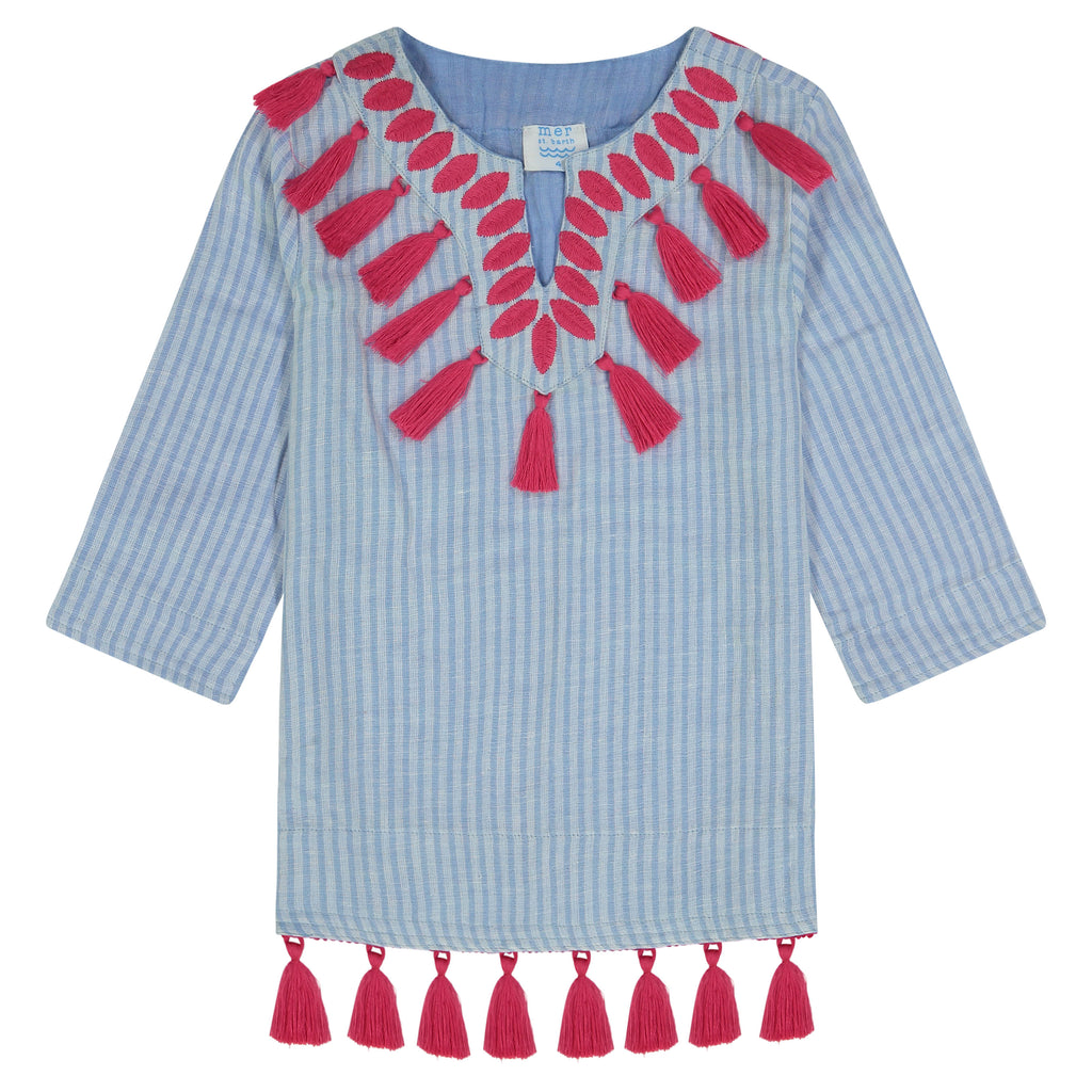 Campbell girls tassel tunic azure blue