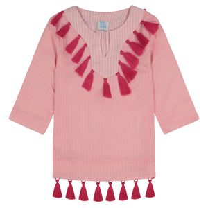 Campbell girls tassel tunic rose pink