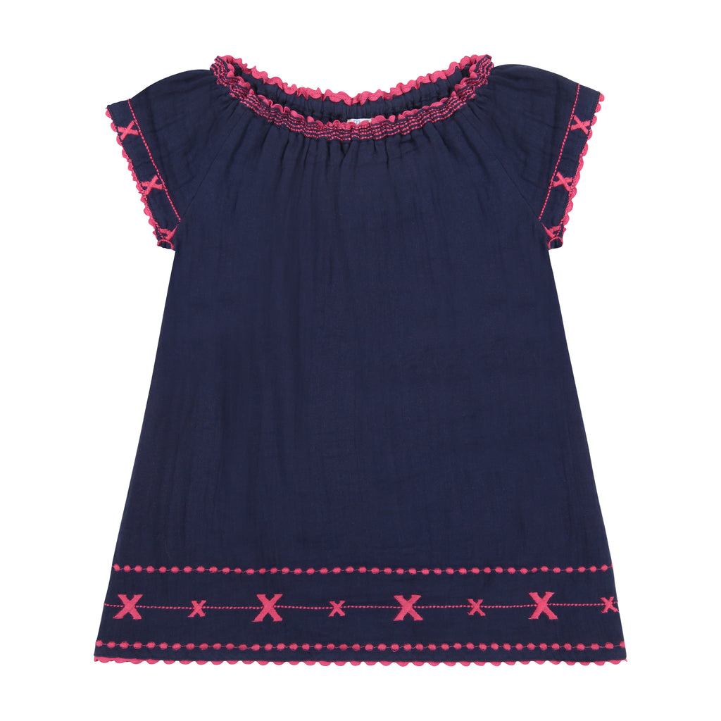 Hadley girls smocked tunic dress navy fuchsia embroidery