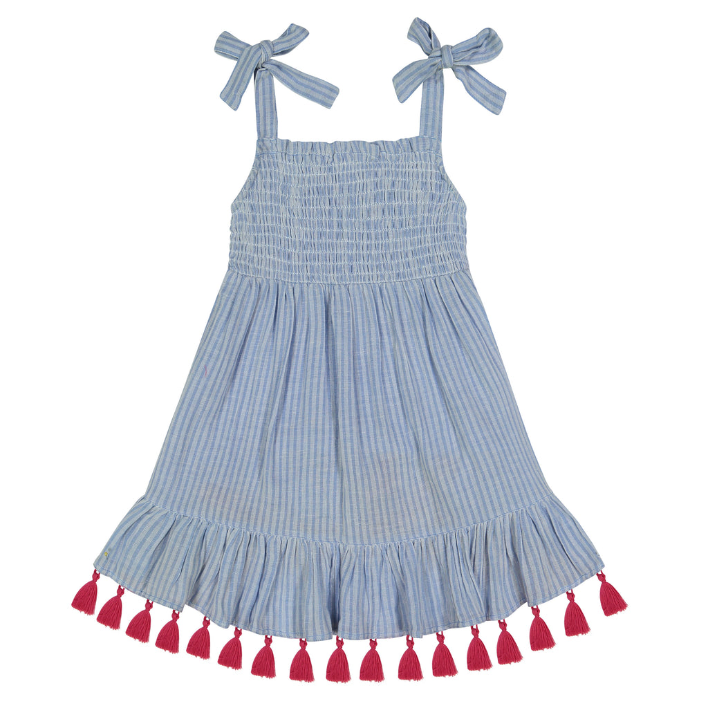 Maya girls smocked shoulder tie sundress azure blue