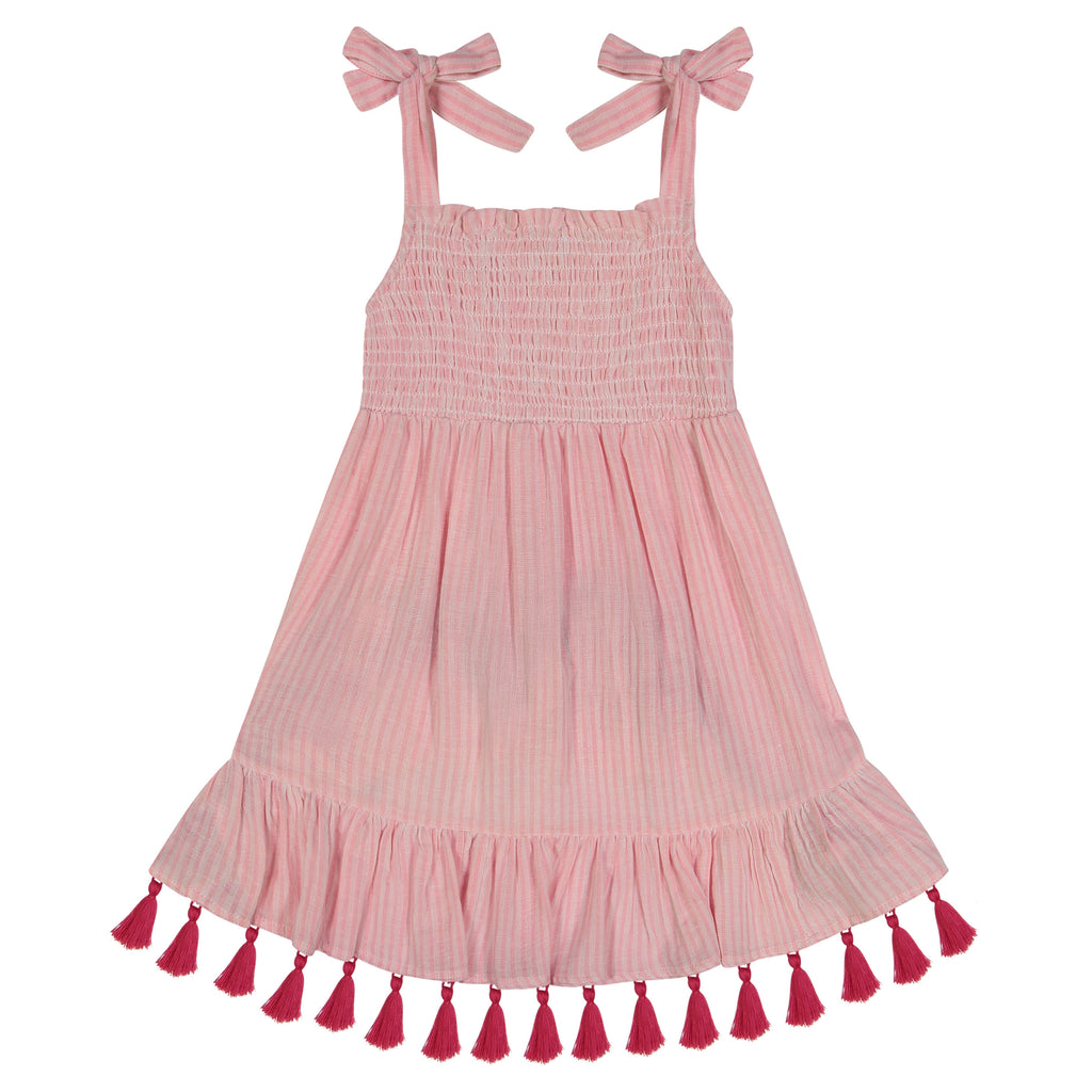Maya girls smocked shoulder tie sundress rose pink