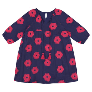 Sara Girl's Tunic Pop Over Dress Navy Scarlet Embroidery